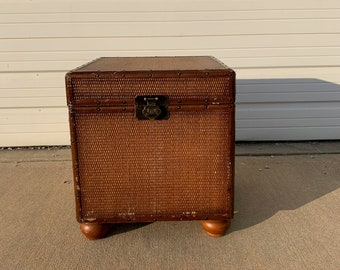 Rustic Trunk Hope Chest Primitive Coffee Table Storage Chest Antique Metal Hinged Top Bench Foot of Bed Storage Locker Bohemian Boho Bamboo