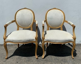 Pair of Louis Chairs Armchairs Balloon Louis XVI Country French Provincial Neoclassical Fluted Shabby Chic Hollywood Regency Seating Wood