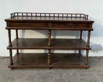 Traditional Console Sofa Wood Table Tv Stand Spindle Furniture Media Stand Buffet Sideboard Chinoiserie Storage Boho Chic CUSTOM PAINT AVAIL