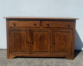 Antique Oak Cabinet Sideboard Buffet Wood Console Table Storage Traditional Mission Arts and Crafts Style Tv Media CUSTOM PAINT AVAIL