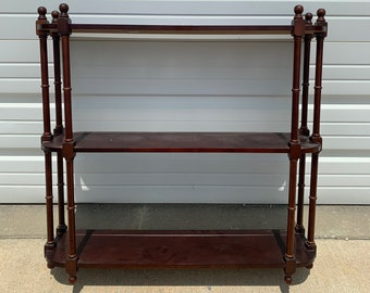 Wall Shelf Antique Cabinet Hutch Carved Wood French Provincial Country Display Case Shabby Chic Furniture Vintage Storage Bookcase Brown