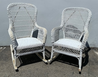 Pair of Rocking Chairs Antique Woven Wicker Rocker Armchair Glider Seating Rattan Shabby Chic Coastal Country Nursery Outdoor Boho Chic