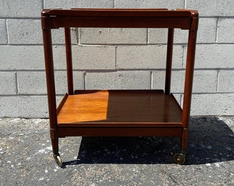 Mid Century Teak Tea Cart Vintage MCM Bar Wood Serving Rustic Industrial Antique Retro Rolling Table Portable Liquor Wine Spirits Regency