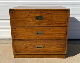 Campaign Chest Cabinet Nightstand Vintage Mid Century MCM Chest Drawers Chinoiserie Bohemian Boho Chic Storage Asian Brass Bedside Table