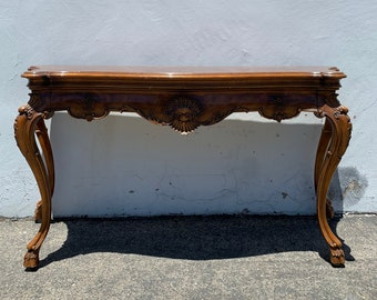 Walnut Wood Sofa Console Table Karges French Provincial Country Entry Way Furniture Vintage Furniture TV Stand Storage CUSTOM PAINT Avail