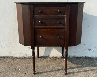 Antique Martha Washington Sewing Cabinet Vintage Table Storage Wood Nightstand Accent Shabby Chic Cottage Coastal CUSTOM PAINT Available