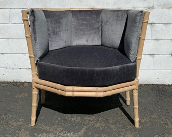 Bamboo Chair Armchair Chinese Chippendale Vintage Mid Century Modern Bohemian Boho Chic Beach Armchair Bentwood Furniture Accent Seating