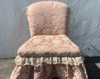 Antique French Chair Vanity Seat Italian Country Provincial Hollywood Regency Stool Seat Bedroom Glam Shabby Chic Baroque Bench Makeup Stool