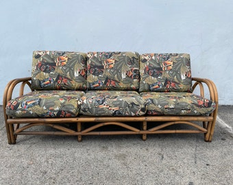 Vintage Rattan Sofa Couch Loveseat Seating Bohemian Boho Chic Coastal Cottage Vintage Seating Glam Chair Beach Decor Faux Bamboo Tropical
