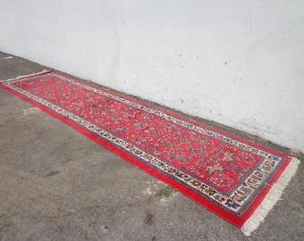 Antique Persian Runner Rug Handmade Wool 2.58  x 10.75