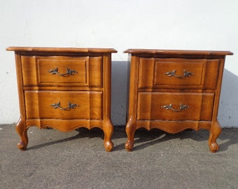 Pair of Nightstands French Provincial Set of Wood Bedside Tables Vintage Bedroom Storage Hollywood Regency Rococo Baroque CUSTOM PAINT AVAIL