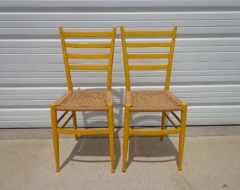 Epic Set of 2 Italian Gio Ponti Ladderback Chairs Mid Century Seating Modern Dining Midcentury Chair Danish Wood Danish Cord Seat MCM Yellow