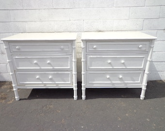 Pair of Bamboo Chests Nightstands Thomasville Allegro Dresser Table Storage Boho Chic Chinoiserie Campaign Shabby Chic CUSTOM PAINT AVAIL