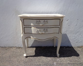 French Provincial Night Stand Neoclassical Nightstand Storage Bedside Table Vintage Bedroom Set Shabby Chic Chalk Paint CUSTOM PAINT AVAIL
