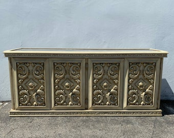 Antique Buffet Console Sideboard Hollywood Regency Storage Hutch Glam French Provincial Neoclassical Tv Media Cabinet CUSTOM PAINT AVAIL