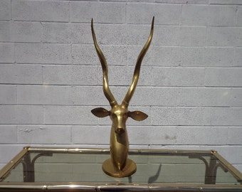 Brass Decor Antelope Gazelle Statue Mid Century Sculpture Hollywood Regency Figurine Bohemian Chic Boho Bronze Gold Antique Ibex Collectible