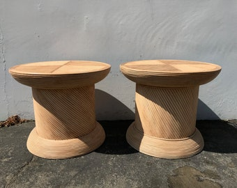 2 Rattan Tables Wrapped Reed Drum Coffee Table Set Accent Cocktail Bohemian Boho Chic Chinese Chippendale Bamboo Palm Beach Chinoiserie