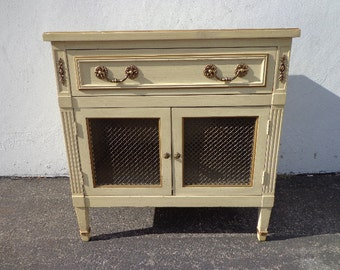 Nightstand Vintage Regency French Provincial Bedside Table Dresser Metal Mesh Shabby Chic Mid Century Bedroom Storage CUSTOM PAINT AVAIL