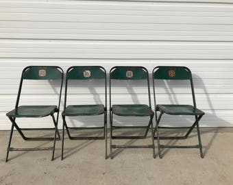 Folding Chairs Set Metal Vintage Antique DFW Waiting Room Theater Stadium Seats Row Rustic Farmhouse Primitive Seating Chair Bench Country
