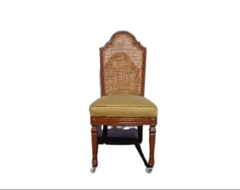 Cane Back Chair Wood Traditional Accent Furniture Regency Hollywood Vintage Neoclassical Provincial Seating Dining Office Vanity Antique
