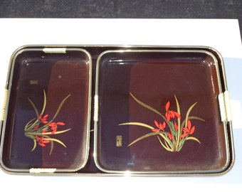 Tray Cocktail Serving Vintage Party Appetizer Food Drink Bar Decor Asian Chinoiserie MCM Mid Century Mod Vintage Barware Japanese Boho Chic