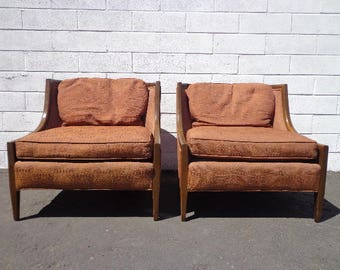 Pair Of Chairs Vintage Lounge Armchair Wood Set Seating Slipper Barrel Back  French Accent Chic Antique Hollywood Regency Mid Century Modern