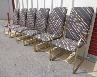 6 Chairs Milo Baughman DIA Brass Metal Mid Century Modern MCM Hollywood Regency MCM Coggin Dining Retro Color Regency Vintage Chair Seating