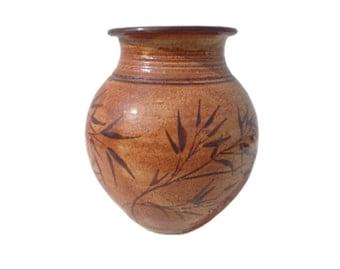 Mid Century Modern Vase Pottery Ceramic Bamboo Hand Painted Burnished Glaze Bohemian Boho Chic Decor Mod Vintage Retro Serving Colorful MCM