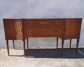 Antique Buffet Cabinet Italian Neoclassical Primitive Sideboard Hutch Wood TV Media Console France Country Storage Table CUSTOM Paint Avail