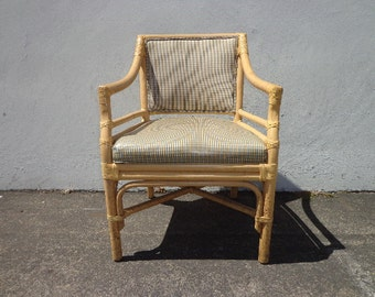 Rattan Armchair Chair Woven Boho Chic Regency Seat Style Coastal Chinese Chippendale Chinoiserie Bamboo Miami Seating Desk Chair Mid Century