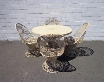 5PC Vintage Spun Fiberglass Set Russell Woodard Style Patio Table Chairs MCM Seating Lounge Chair Mid Century Modern Retro Patio Furniture