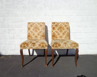 Pair of Chairs Set Dining Chair Seating Vintage Floral Regency Country French Provincial Regency Shabby Chic Walnut Lounge Coastal Cottage