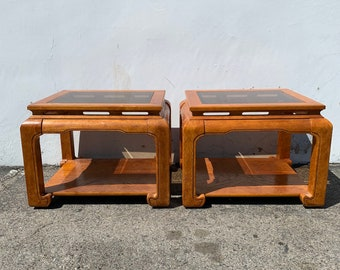 Pair of Antique Wood Tables Cocktail Accent End Table Chinese Chinoiserie Ming James Mont Asian Hollywood Regency CUSTOM PAINT AVAIL