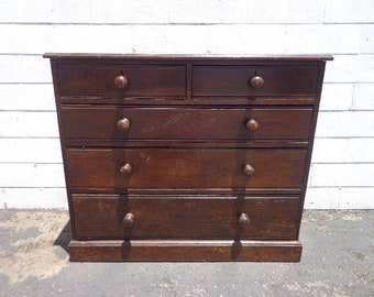 Antique Dresser Solid Oakwood Chest of Drawers Furniture Bedroom Storage Wood Tall Dresser Danish Modern Antique Vintage CUsTOM PAINT AVAIL