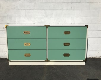 Campaign Chest Dresser Changing Table Boho Chic Bohemian Buffet Media Console Chinoiserie Chest of Drawers Asian Brass CUSTOM PAINT AVAIL