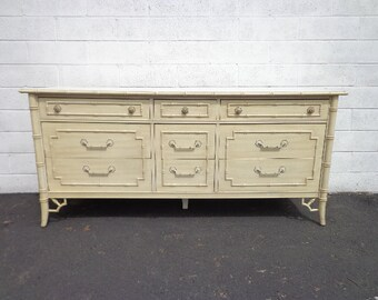 Bamboo Dresser Thomasville Allegro Table Faux Rattan Bedroom Console Chest Drawers Regency Chinoiserie Boho Chic Campaign CUSTOM PAINT Avail