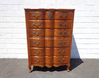 Dresser Tallboy Highboy French Provincial Chest of Drawers Storage Neoclassical Shabby Chic Glam Regency Bedroom Storage CUSTOM PAINT AVAIL