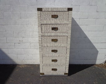 Vintage Lingerie Chest Tall Narrow Dresser Bedroom Storage Brass Accents Beachy Wicker Chinoiserie Boho Bohemian Eclectic CUSTOM PAINT AVAIL
