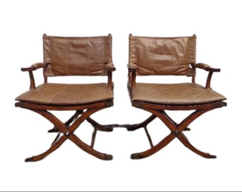 Pair of Chairs Safari Armchairs Campaign X Base Leather Vintage Mid Century Modern Bohemian Boho Lounge Furniture Accent Seating Mid Century