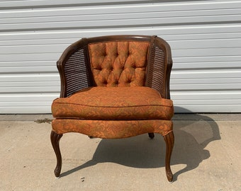 Antique Chair Cane Tufted Armchair Tub Barrel Back Traditional Style Armchair Regency Vintage Seating Bohemian Boho Chic Wood Frame