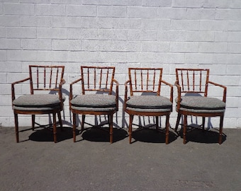 Chairs Set Dining Bamboo Boho Chinese Chippendale Lounge Chic Regency Rattan Armchairs Seating Coastal Chinoiserie Rattan Miami Seating Desk