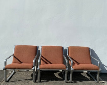 3 Knoll Hannah Morrison Armchairs Aluminum Lounge Chairs Mid Century Modern Hollywood Regency MCM Retro Vintage Chair Seating Boho Chic