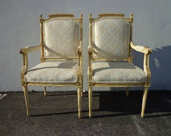 Pair of Chairs French Armchair Louis XVI Country Provincial Neoclassical Fluted Shabby Chic Hollywood Regency Seating Carved Wood Vintage