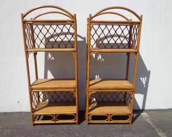 Pair of Bookcases Wicker Rattan Woven Jute Etagere Shelves Book Case Display Shelf Shelves Storage Bohemian Boho Chic Tropical Beach Bamboo