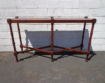 Wood Sofa Table Console Faux Bamboo Chinoiserie Chinese Chippendale Bohemian Boho Chic Entry Way Furniture Vintage Living Room TV Stand