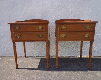 Pair of Nightstands Storage Wood Chests Traditional CountryAmerican Furniture Bedroom Chest Shabby Chic Bedside Tables CUSTOM PAINT AVAIL