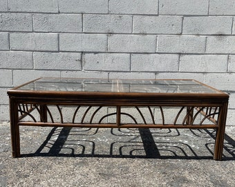 Rattan Coffee Table Cocktail Bohemian Boho Chic Accent Stand Chippendale Chinese Faux Bamboo Palm Beach Chinoiserie Hollywood Regency Beach