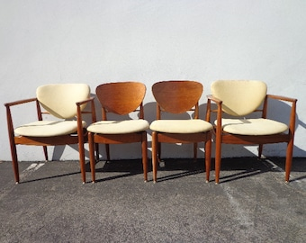 Mid Century Dining Chairs Set of Modern Seating Teak Wood MCM Danish Mod Eames Kitchen Style Bohemian Boho Chic Denmark Antique Furniture