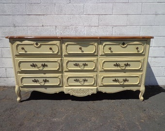 French Provincial Dresser Chest of Drawers Shabby Chic Mid Century Buffet Media Console Bedroom Set Storage Nursery Table CUSTOM PAINT AVAIL