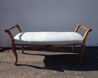 Bench Wood Country French Provincial Regency Chippendale Settee Bed Seat Wood Shabby Cottage Chic Victorian Seating Coastal Beach Vintage
